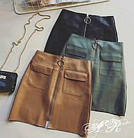 Женская шикарная кожаная юбка на молнии (3 цвета), фото 1