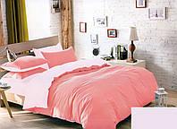 Качественный двусторонний комплект постельного белья евро размера розовый/нежнорозовый