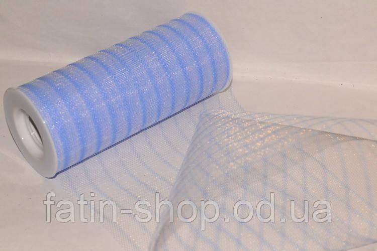 Фатин ширина 14,50см Полоска Lt-blue