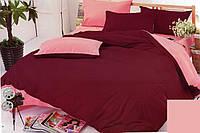 Качественный двусторонний комплект постельного белья евро размера вишневый/розовый