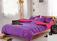 Качественный двусторонний евро комплект постельного белья фиолетовый/розовый