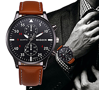 Кварцевые наручные мужские часы с коричневым ремешком код 323