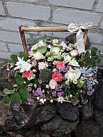 Цветы-микс в деревянном ящичке(рустик), фото 1