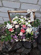 Цветы-микс в деревянном ящичке(рустик)