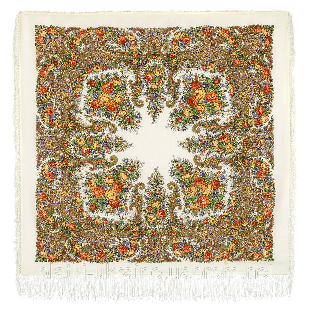 "Платок шерстяной с шелковой бахромой ""Лира"", вид 1, 125х125 см"