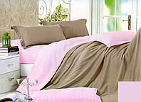 Качественный двусторонний евро комплект постельного белья кофейный/розовый