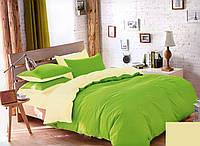 Качественный двусторонний комплект постельного белья евро размера зеленый/желтый