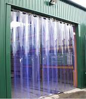 Полосовые завесы - прозрачные голубые ПВХ