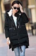 Пальто утепленное мехом черное, фото 1