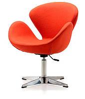 Кресло дизайнерское Сван оранжевое, с газовым лифтом, точная копия кресла Swan дизайн Арне Якобсена