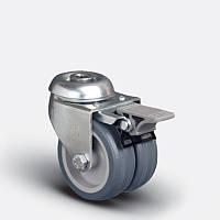 Сдвоенные аппаратные колеса поворотные с отверстием и тормозом на серой резине диаметром 50 мм