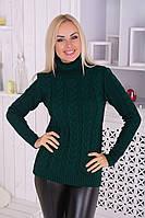 Свитер зеленый под горло женский вязаный теплый, фото 1