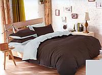 Качественный двусторонний евро комплект постельного белья коричневый/серый