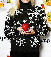 Теплый женский свитер, снежинка (цвет зеленый) /  Женская кофта теплая, удобная