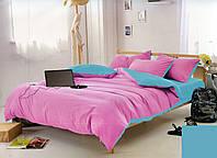 Качественный двусторонний комплект постельного белья евро размера розовый/голубой