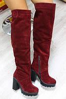 Зимние натуральные замшевые сапоги-ботфорты на удобном каблуке цвет Марсала
