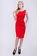Стильное вечернее платье с брошью черное красное