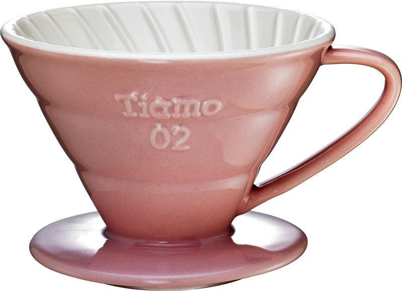 Керамический пуровер Tiamo Ceramic V60 02 Розовый для заваривания фильтр-кофе