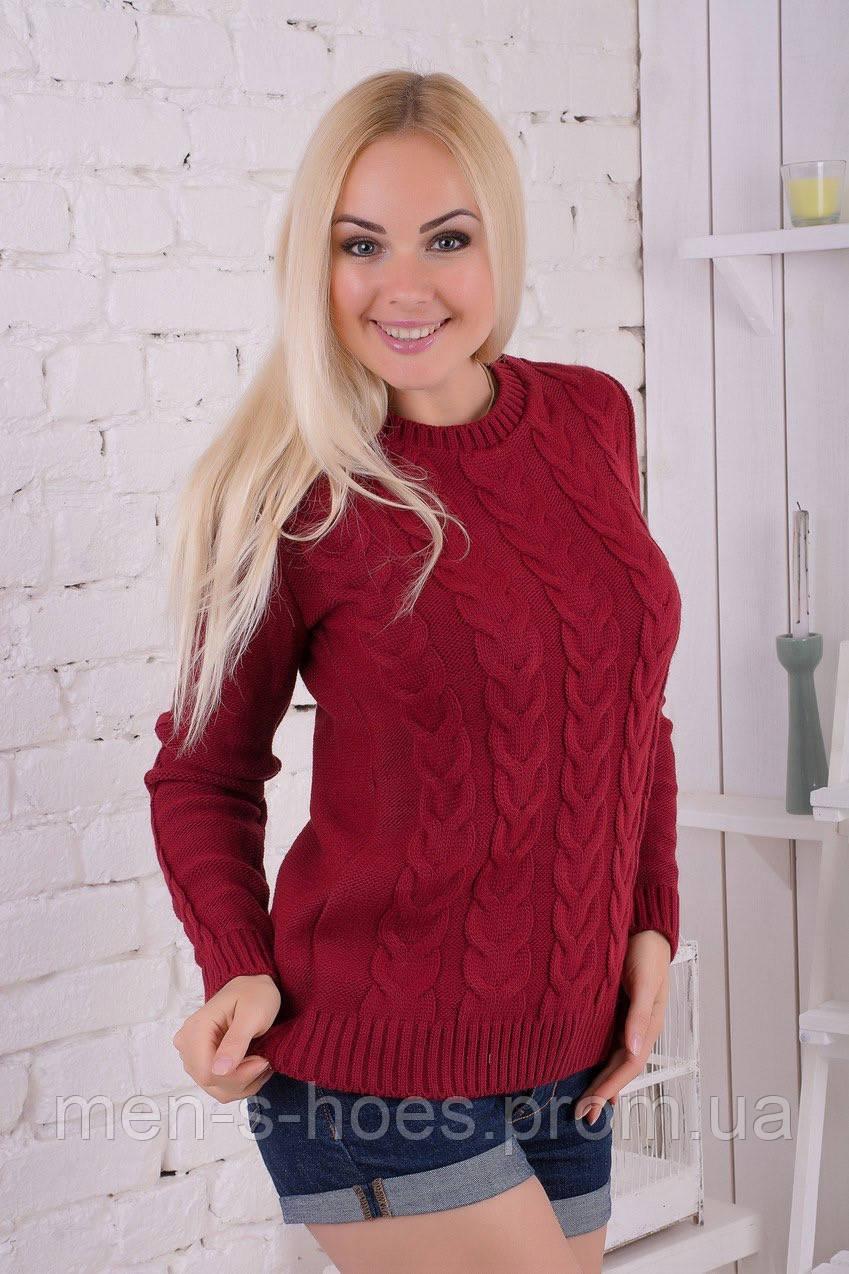 свитер женский вязаный бордовый с косами цена 300 грн купить в