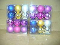 Елочные шарики 12 штук  4см розовые