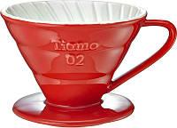 Керамический пуровер Tiamo Ceramic V60 02 Красный для заваривания фильтр-кофе