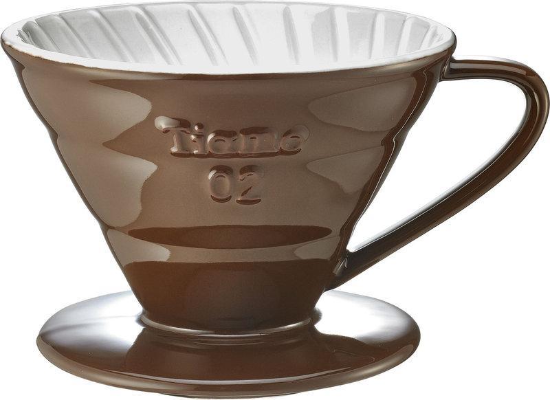Керамический пуровер Tiamo Ceramic V60 02 Brown для заваривания фильтр-кофе