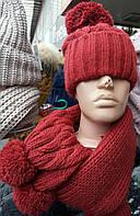 Красный комплект шарф и шапка