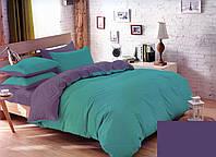 Качественный двуспальный комплект постельного белья зеленый/фиолетовый