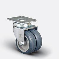 Сдвоенные аппаратные колеса поворотные с площадкой на серой резине диаметром 50 мм