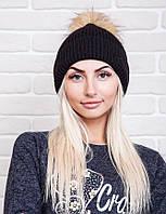 Теплая женская вязаная шапка черного цвета