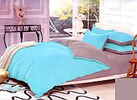Качественный двуспальный комплект постельного белья бирюза/серый