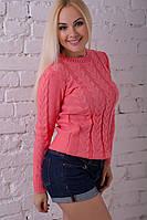 Свитер женский вязаный розовый нарядный.