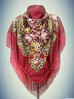 Шерстяной платок с пышной бахромой Ароматы весны, бордовый