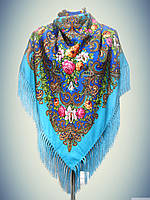 Шерстяной платок с пышной бахромой Лилия, индиго -синий