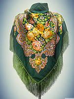 Шерстяной платок с пышной бахромой Ароматы весны, зелёный