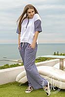 Костюм футболка + брюки из льна-джинса