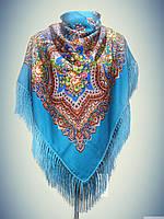 Шерстяной платок с пышной бахромой, синий