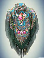 Шерстяной платок с пышной бахромой Лилия, зелёный -бирюза