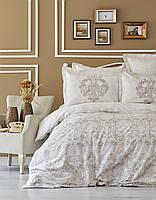Комплект постельного белья евро Karaca Home сатин  Carola бежевый