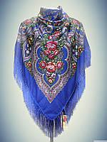 Шерстяной платок с пышной бахромой Дыхание лета, синий