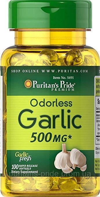 Без запаха чеснок, Puritan's Pride Odorless Garlic 500 mg 100 Rapid Release Softgels