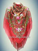 Шерстяной платок с пышной бахромой Лилия, красный
