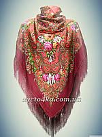 Шерстяной платок с пышной бахромой Лилия, кораловый