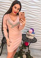 Молодежное платье с модным декором стразами
