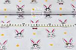 Ткань хлопковая с кроликами в цилиндрах на белом фоне, № 1006, фото 2