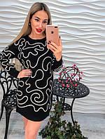 Модное платье-туника декорировано лентой
