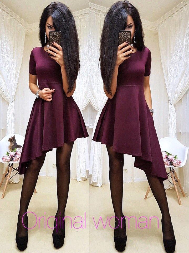 Асимметричное платье из дайвинга с коротким рукавом 203394