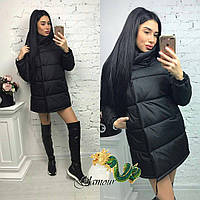 Женская объемная зимняя куртка с воротником - стойкой 560142