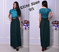 Нарядное длинное платье с гипюровым верхом и украшением на поясе 7103399