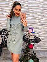 Модное платье-туника с узором цветов